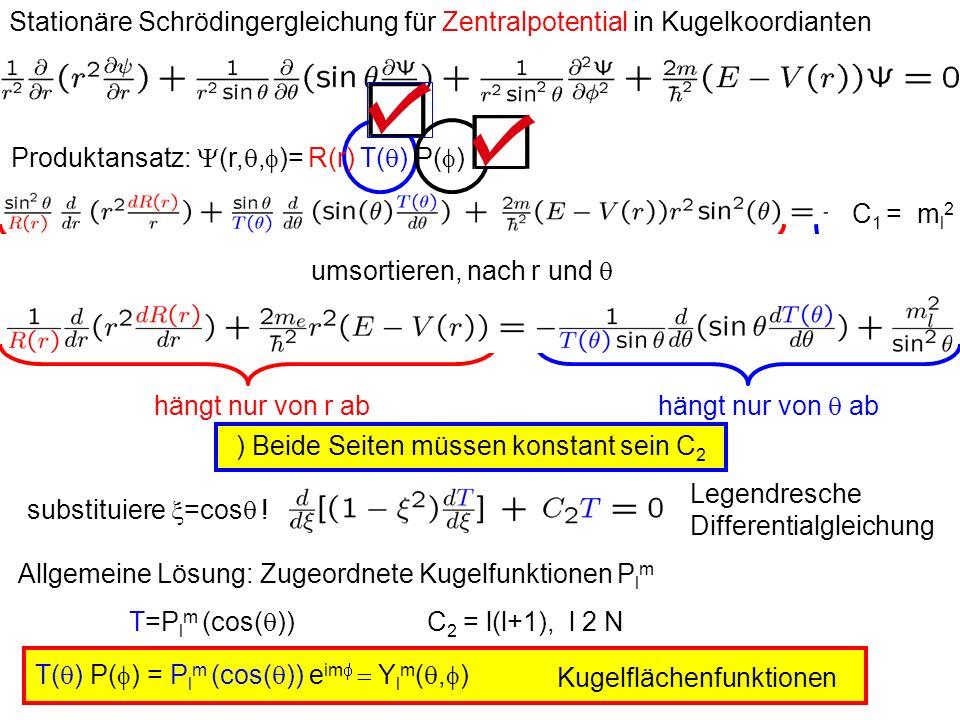 Stationäre Schrödingergleichung für Zentralpotential in Kugelkoordianten Hängt nur von r, ab Hängt nur von ab ) Beide Seiten müssen konstant sein C 1