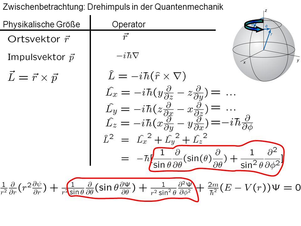 Zwischenbetrachtung: Drehimpuls in der Quantenmechanik Physikalische Größe Operator