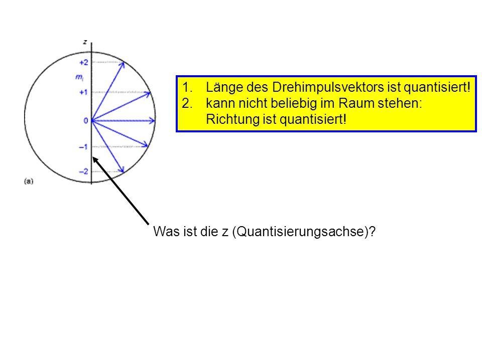 1.Länge des Drehimpulsvektors ist quantisiert! 2.kann nicht beliebig im Raum stehen: Richtung ist quantisiert! Was ist die z (Quantisierungsachse)?