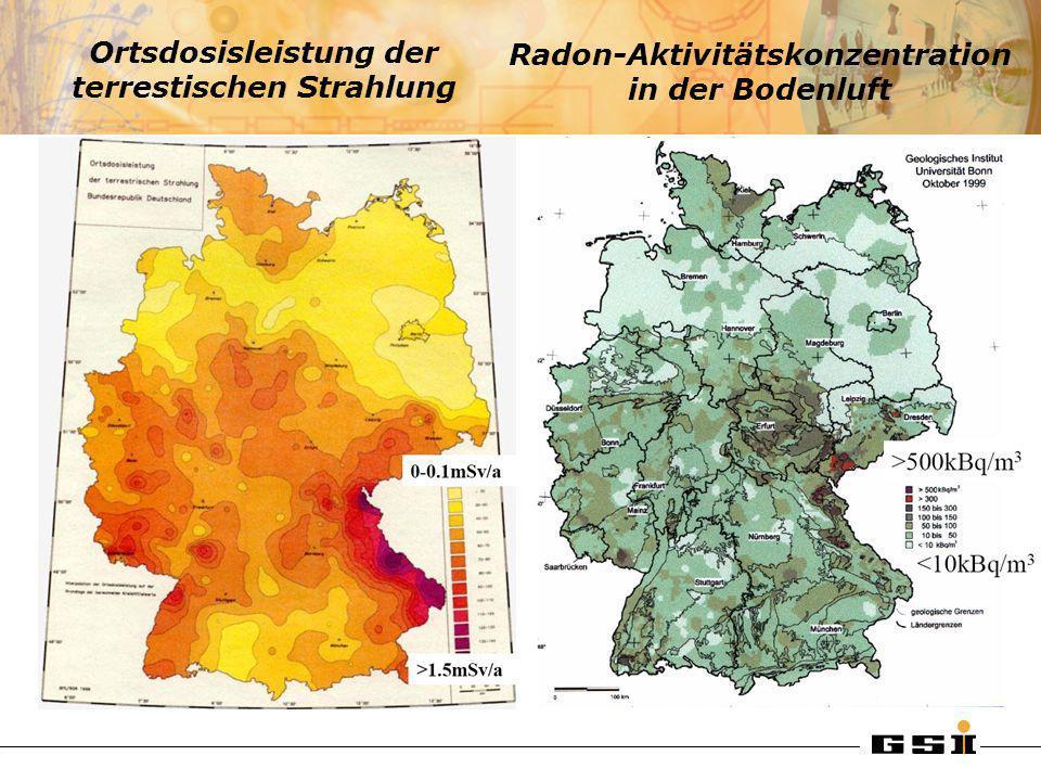 Ortsdosisleistung der terrestischen Strahlung Radon-Aktivitätskonzentration in der Bodenluft