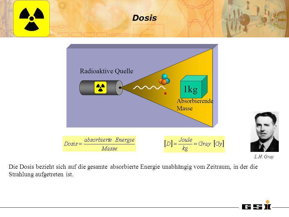 Dosis Die Dosis bezieht sich auf die gesamte absorbierte Energie unabhängig vom Zeitraum, in der die Strahlung aufgetreten ist. L.H. Gray