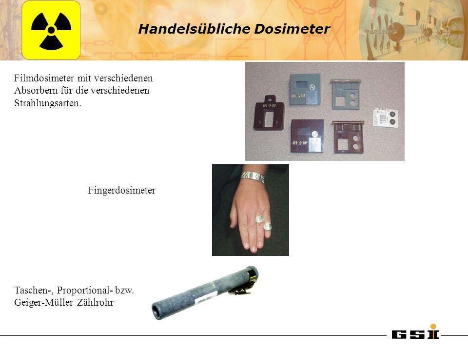 Handelsübliche Dosimeter Filmdosimeter mit verschiedenen Absorbern für die verschiedenen Strahlungsarten. Fingerdosimeter Taschen-, Proportional- bzw.
