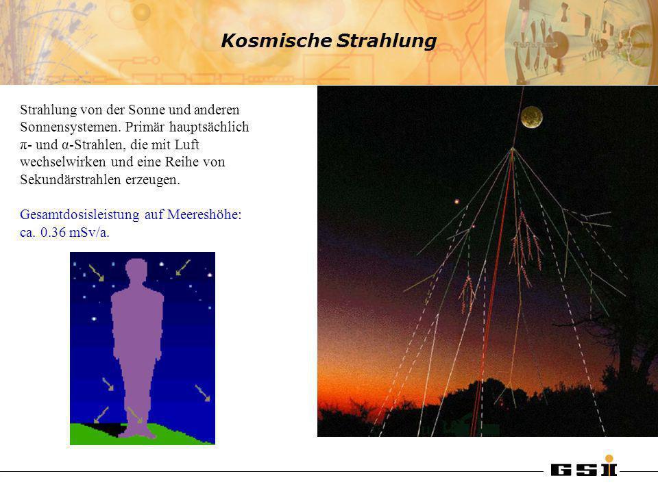 Kosmische Strahlung Strahlung von der Sonne und anderen Sonnensystemen. Primär hauptsächlich π- und α-Strahlen, die mit Luft wechselwirken und eine Re