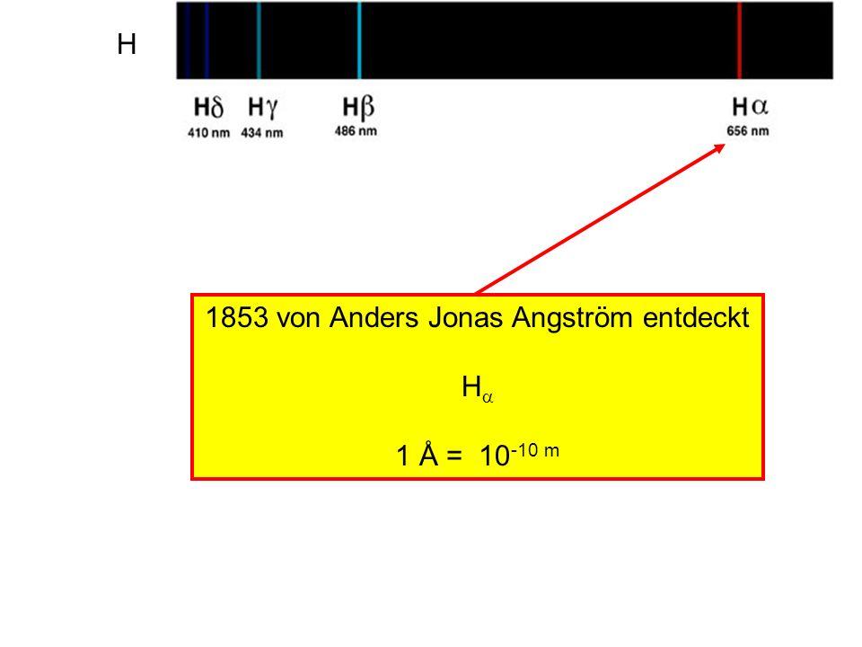 H 1853 von Anders Jonas Angström entdeckt H 1 Å = 10 -10 m