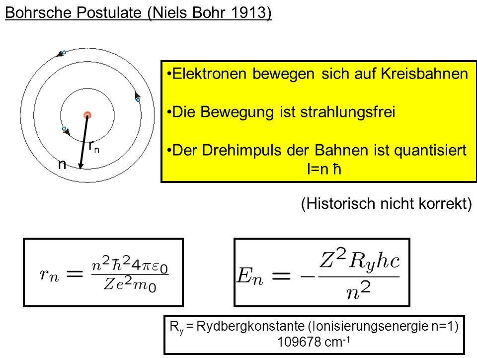 Bohrsche Postulate (Niels Bohr 1913) Elektronen bewegen sich auf Kreisbahnen Die Bewegung ist strahlungsfrei Der Drehimpuls der Bahnen ist quantisiert