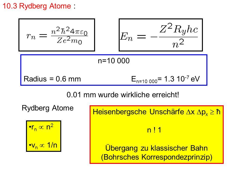 n=10 000 Radius = 0.6 mm E n=10 000 = 1.3 10 -7 eV 0.01 mm wurde wirkliche erreicht! 10.3 Rydberg Atome : Rydberg Atome r n n 2 v n 1/n Heisenbergsche