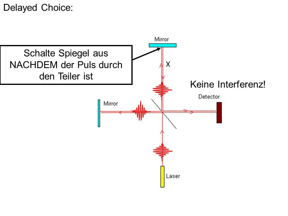Delayed Choice: Schalte Spiegel aus NACHDEM der Puls durch den Teiler ist Keine Interferenz!
