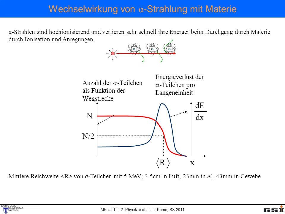 Wechselwirkung von α -Strahlung mit Materie α-Strahlen sind hochionisierend und verlieren sehr schnell ihre Energei beim Durchgang durch Materie durch