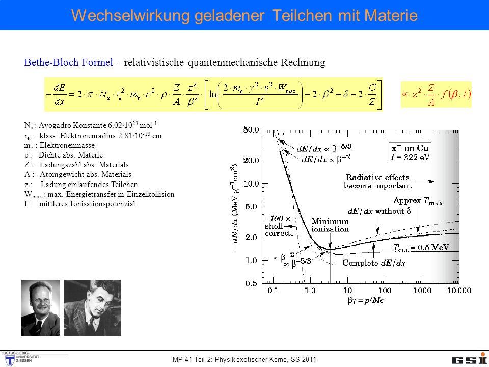 MP-41 Teil 2: Physik exotischer Kerne, SS-2011 Wechselwirkung geladener Teilchen mit Materie Bethe-Bloch Formel – relativistische quantenmechanische R