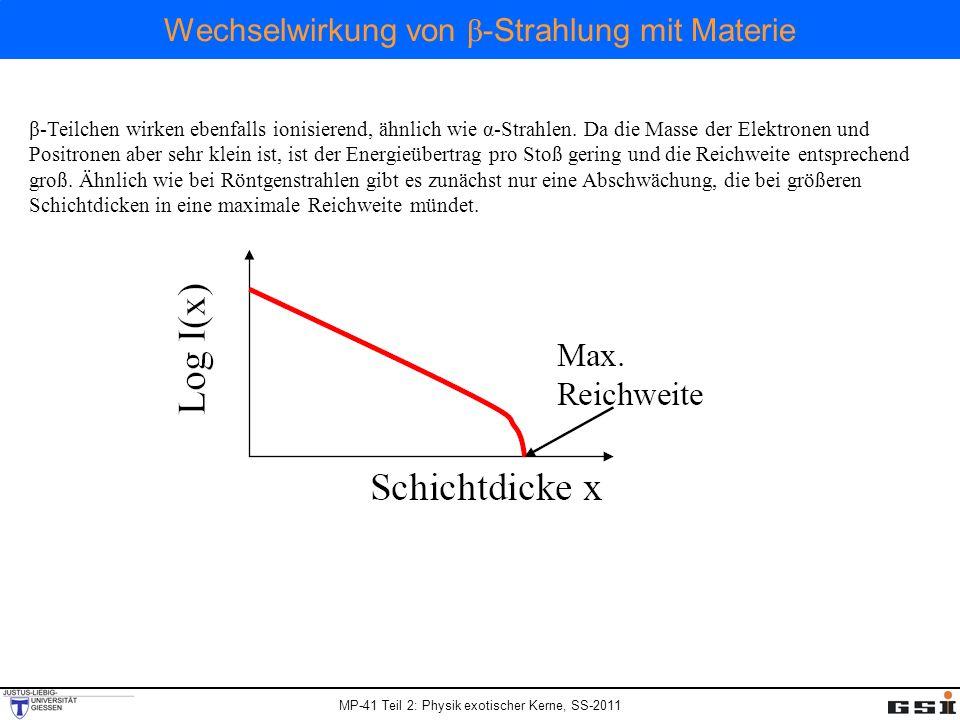 Wechselwirkung von β -Strahlung mit Materie β-Teilchen wirken ebenfalls ionisierend, ähnlich wie α-Strahlen. Da die Masse der Elektronen und Positrone