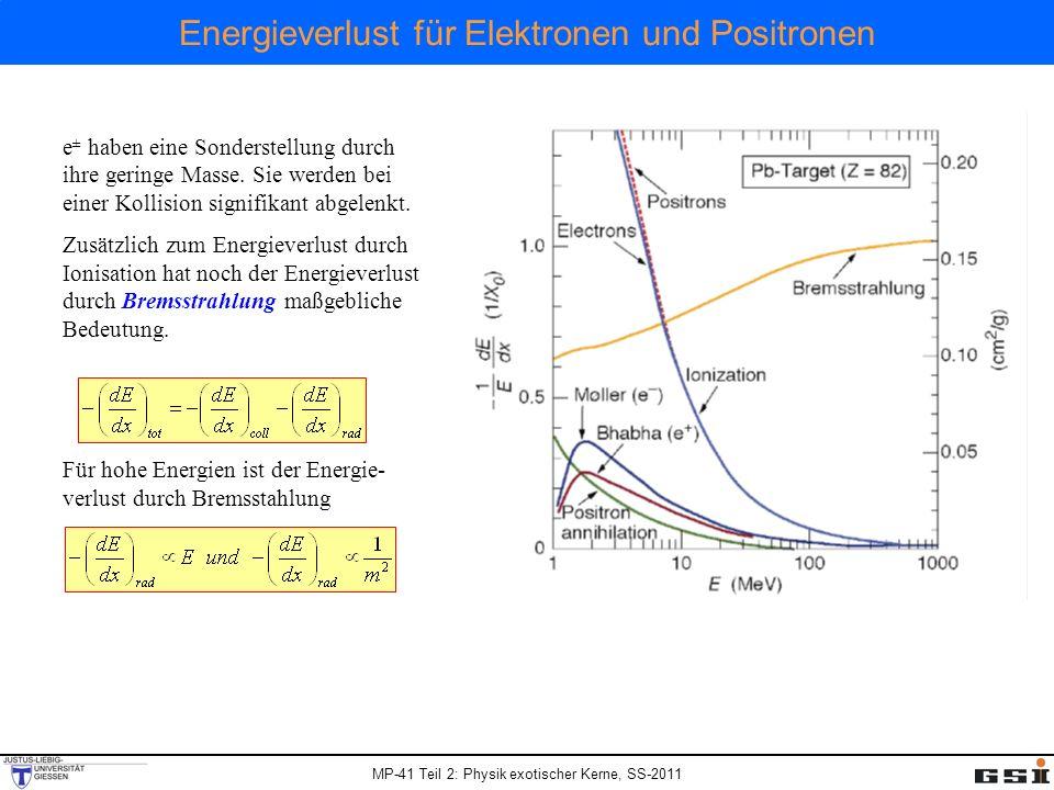MP-41 Teil 2: Physik exotischer Kerne, SS-2011 Energieverlust für Elektronen und Positronen e ± haben eine Sonderstellung durch ihre geringe Masse. Si