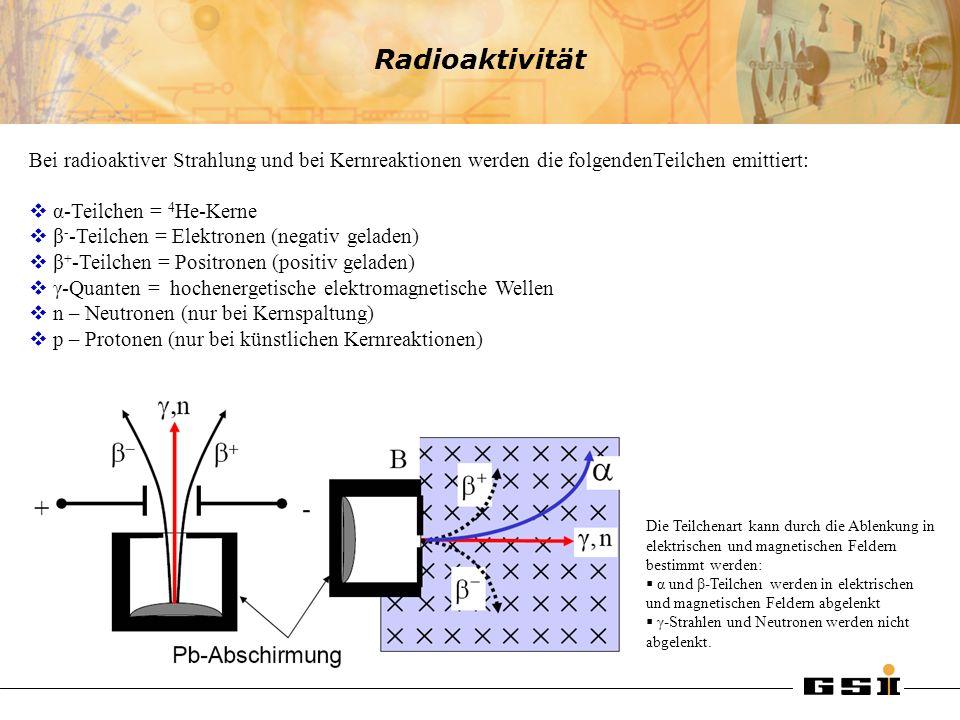 Radioaktivität Bei radioaktiver Strahlung und bei Kernreaktionen werden die folgendenTeilchen emittiert: α-Teilchen = 4 He-Kerne β - -Teilchen = Elekt