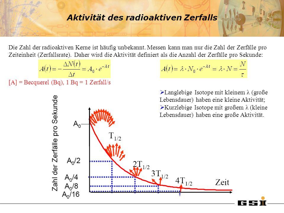 Aktivität des radioaktiven Zerfalls Die Zahl der radioaktiven Kerne ist häufig unbekannt. Messen kann man nur die Zahl der Zerfälle pro Zeiteinheit (Z