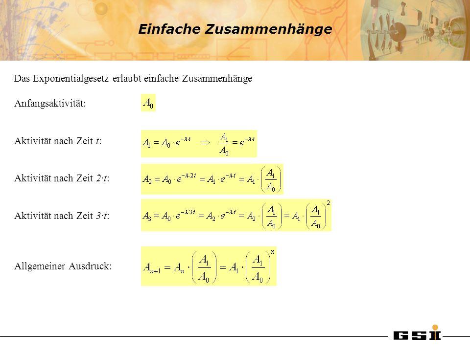 Einfache Zusammenhänge Das Exponentialgesetz erlaubt einfache Zusammenhänge Anfangsaktivität: Aktivität nach Zeit t: Aktivität nach Zeit 2·t: Aktivitä