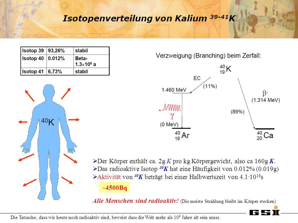 Isotopenverteilung von Kalium 39-41 K Der Körper enthält ca. 2g K pro kg Körpergewicht, also ca 160g K. Das radioaktive Isotop 40 K hat eine Häufigkei