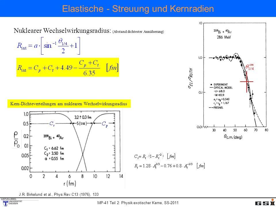 MP-41 Teil 2: Physik exotischer Kerne, SS-2011 Elastische - Streuung und Kernradien J.R. Birkelund et al., Phys.Rev.C13 (1976), 133 Nuklearer Wechselw