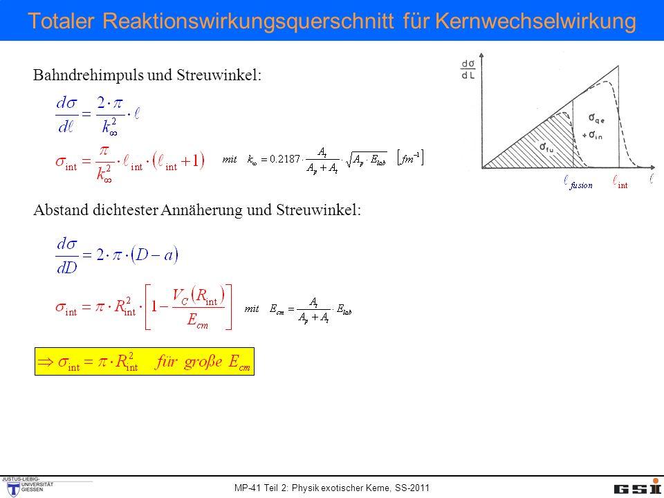 MP-41 Teil 2: Physik exotischer Kerne, SS-2011 Totaler Reaktionswirkungsquerschnitt für Kernwechselwirkung Bahndrehimpuls und Streuwinkel: Abstand dic