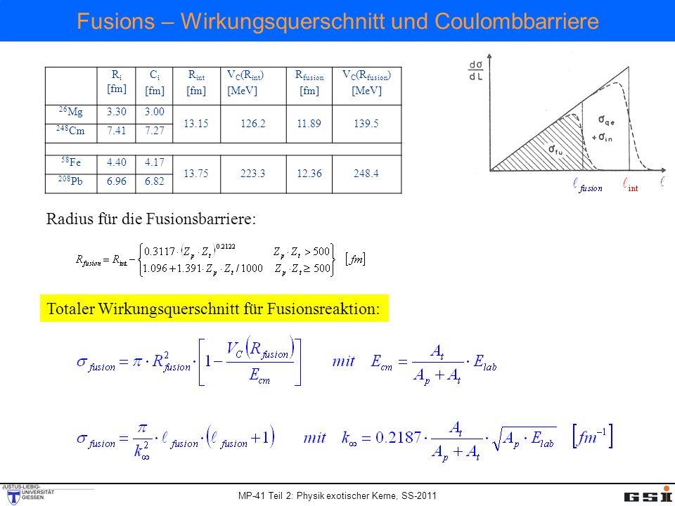MP-41 Teil 2: Physik exotischer Kerne, SS-2011 Fusions – Wirkungsquerschnitt und Coulombbarriere Totaler Wirkungsquerschnitt für Fusionsreaktion: R i