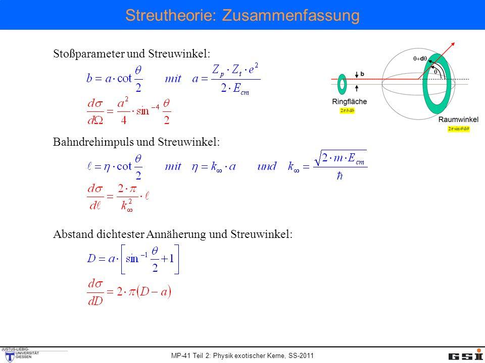 MP-41 Teil 2: Physik exotischer Kerne, SS-2011 Streutheorie: Zusammenfassung Stoßparameter und Streuwinkel: Bahndrehimpuls und Streuwinkel: Abstand di