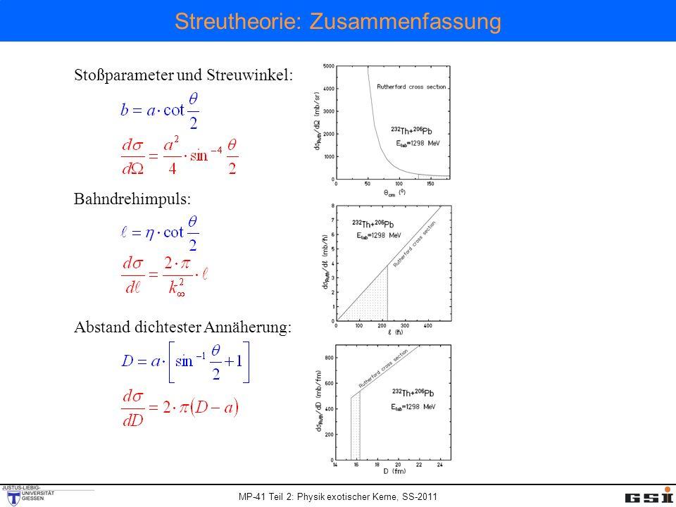 MP-41 Teil 2: Physik exotischer Kerne, SS-2011 Streutheorie: Zusammenfassung Stoßparameter und Streuwinkel: Bahndrehimpuls: Abstand dichtester Annäher