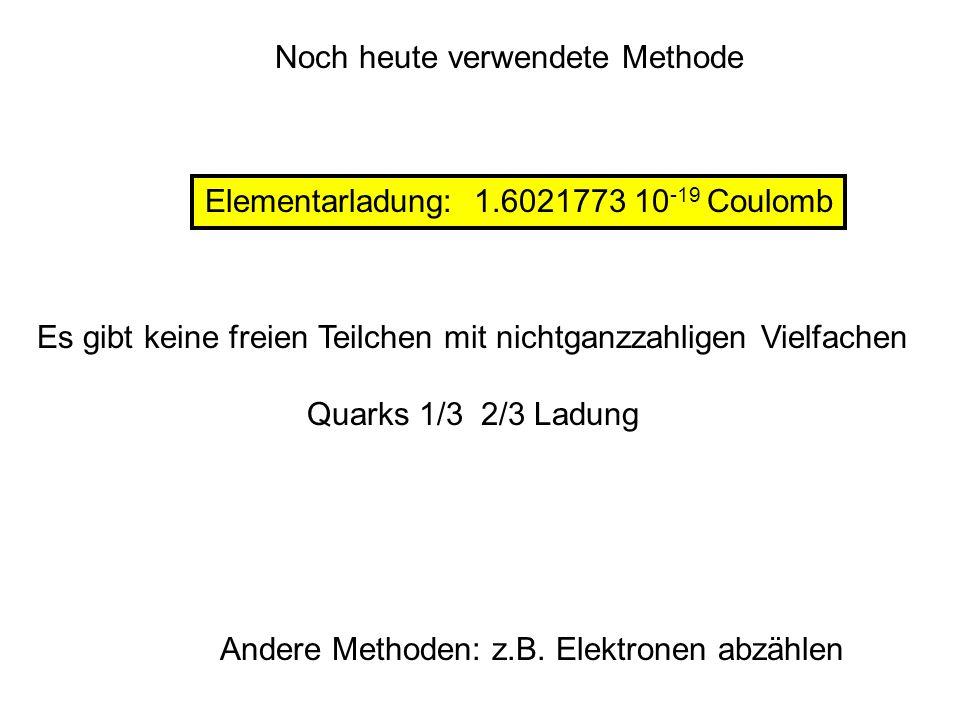 Noch heute verwendete Methode Elementarladung: 1.6021773 10 -19 Coulomb Andere Methoden: z.B. Elektronen abzählen Es gibt keine freien Teilchen mit ni