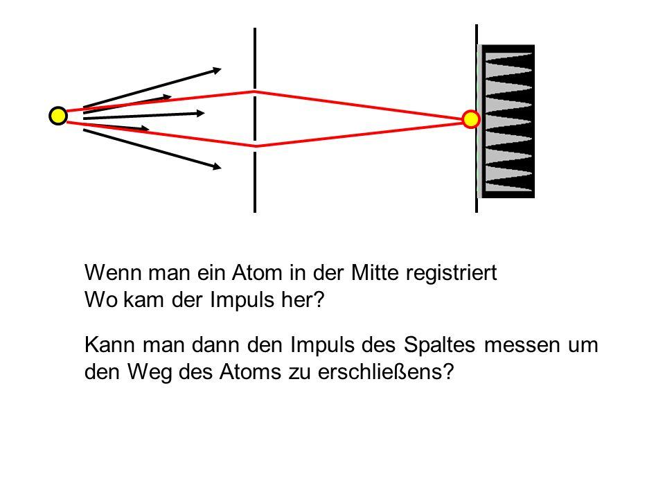 Wenn man ein Atom in der Mitte registriert Wo kam der Impuls her? Kann man dann den Impuls des Spaltes messen um den Weg des Atoms zu erschließens?