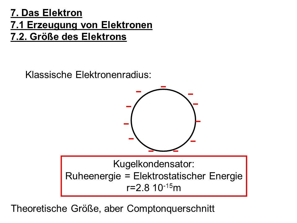7. Das Elektron 7.1 Erzeugung von Elektronen 7.2. Größe des Elektrons Klassische Elektronenradius: Kugelkondensator: Ruheenergie = Elektrostatischer E