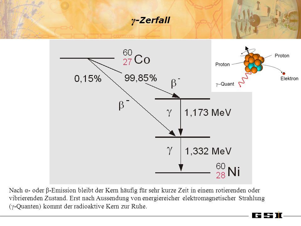γ -Zerfall Nach α- oder β-Emission bleibt der Kern häufig für sehr kurze Zeit in einem rotierenden oder vibrierenden Zustand. Erst nach Aussendung von