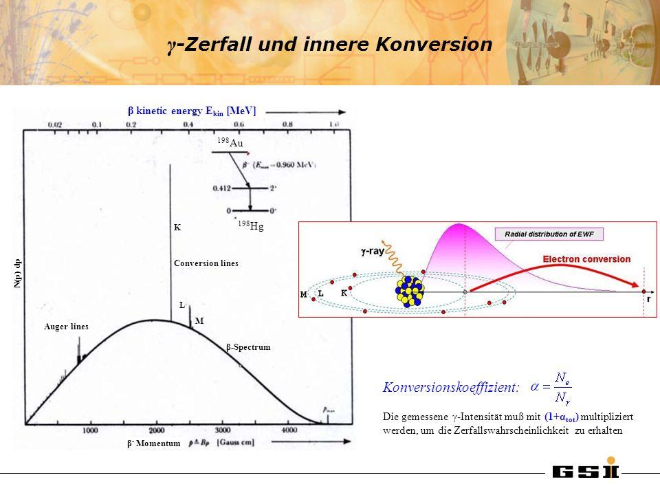 γ -Zerfall und innere Konversion β kinetic energy E kin [MeV] 198 Au 198 Hg Conversion lines β-Spectrum Auger lines K L M β - Momentum N(p) dp Konvers
