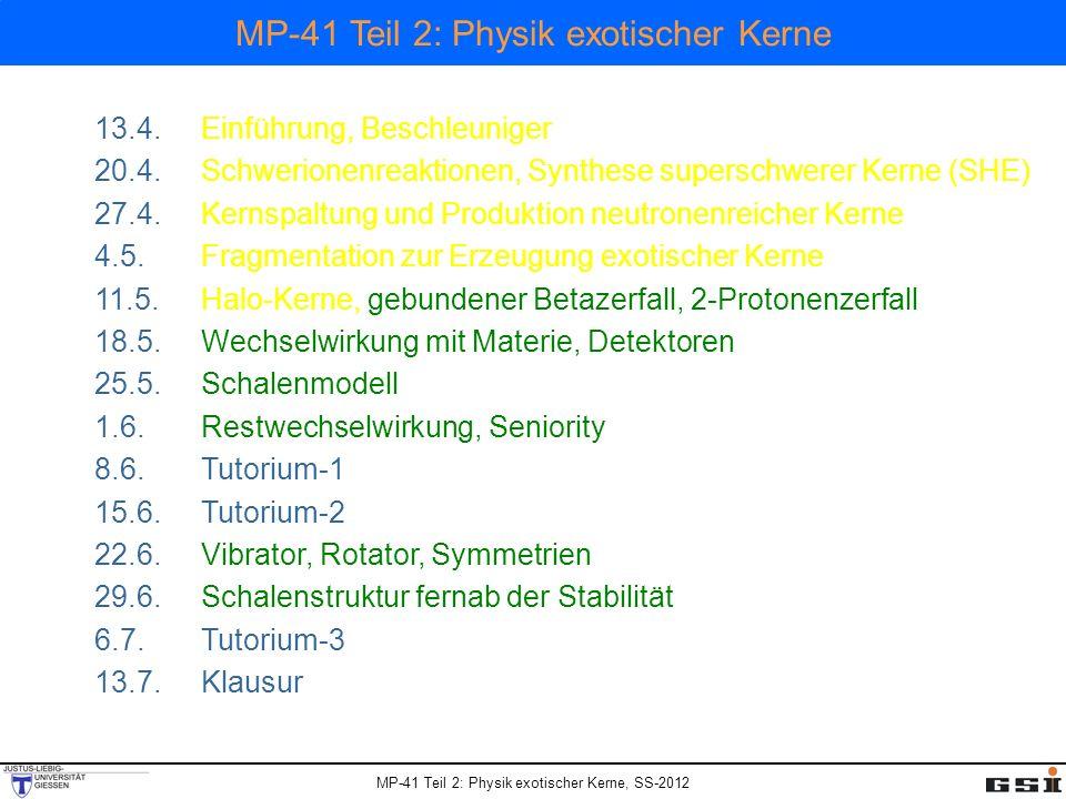 MP-41 Teil 2: Physik exotischer Kerne, SS-2012 MP-41 Teil 2: Physik exotischer Kerne 13.4.Einführung, Beschleuniger 20.4.Schwerionenreaktionen, Synthese superschwerer Kerne (SHE) 27.4.Kernspaltung und Produktion neutronenreicher Kerne 4.5.Fragmentation zur Erzeugung exotischer Kerne 11.5.Halo-Kerne, gebundener Betazerfall, 2-Protonenzerfall 18.5.Wechselwirkung mit Materie, Detektoren 25.5.Schalenmodell 1.6.Restwechselwirkung, Seniority 8.6.Tutorium-1 15.6.Tutorium-2 22.6.Vibrator, Rotator, Symmetrien 29.6.Schalenstruktur fernab der Stabilität 6.7.Tutorium-3 13.7.