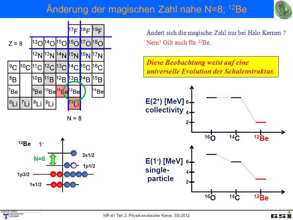 MP-41 Teil 2: Physik exotischer Kerne, SS-2012 Änderung der magischen Zahl nahe N=8; 12 Be Ändert sich die magische Zahl nur bei Halo Kernen ? Nein! G