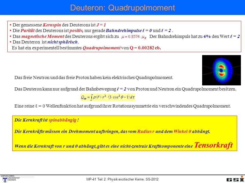 MP-41 Teil 2: Physik exotischer Kerne, SS-2012 Deuteron: Quadrupolmoment Der gemessene Kernspin des Deuterons ist J = 1 Die Parität des Deuterons ist
