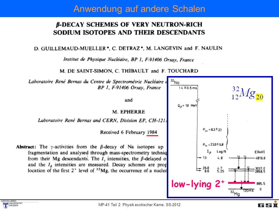 MP-41 Teil 2: Physik exotischer Kerne, SS-2012 Anwendung auf andere Schalen low-lying 2 +