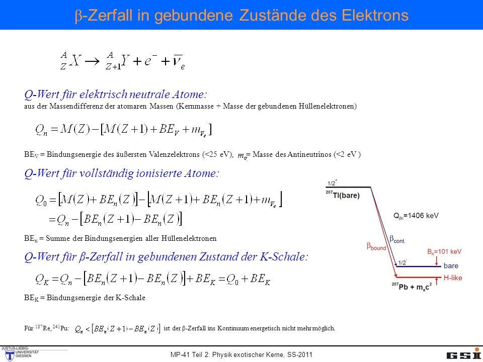 MP-41 Teil 2: Physik exotischer Kerne, SS-2011 Für 187 Re, 241 Pu: ist der β-Zerfall ins Kontinuum energetisch nicht mehr möglich. Q-Wert für elektris