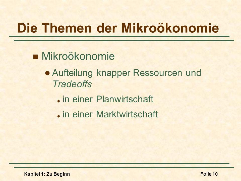 Kapitel 1: Zu BeginnFolie 10 Die Themen der Mikroökonomie Mikroökonomie Aufteilung knapper Ressourcen und Tradeoffs in einer Planwirtschaft in einer M