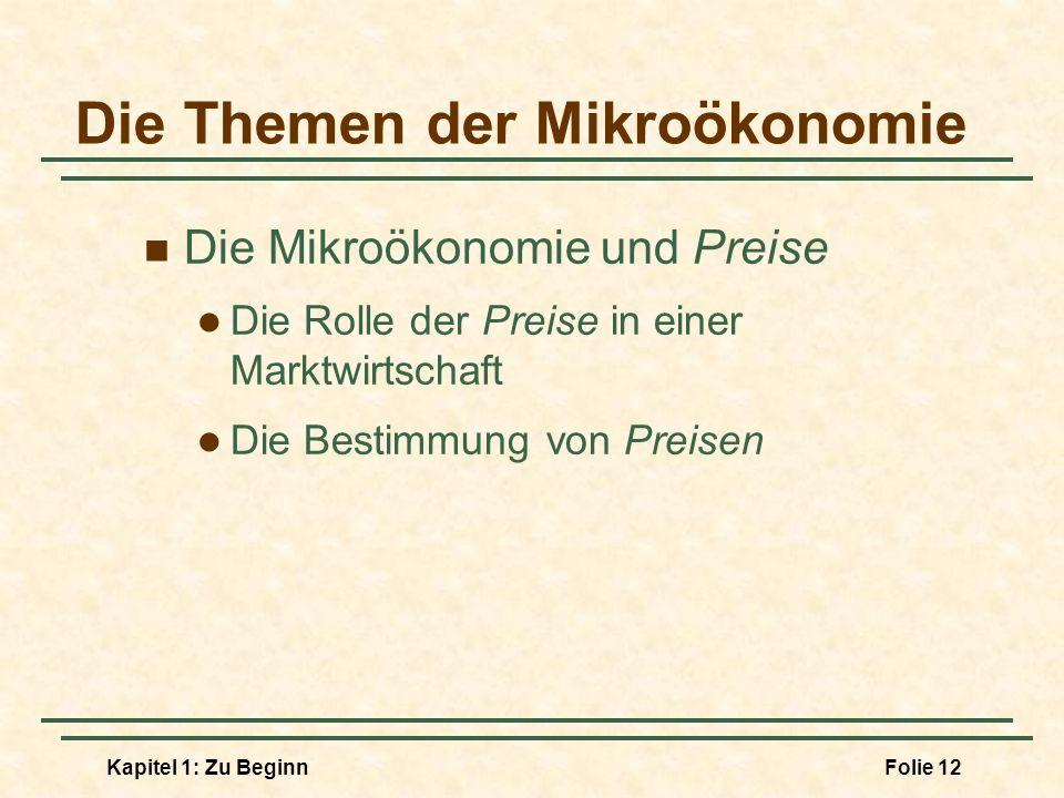 Kapitel 1: Zu BeginnFolie 12 Die Themen der Mikroökonomie Die Mikroökonomie und Preise Die Rolle der Preise in einer Marktwirtschaft Die Bestimmung vo