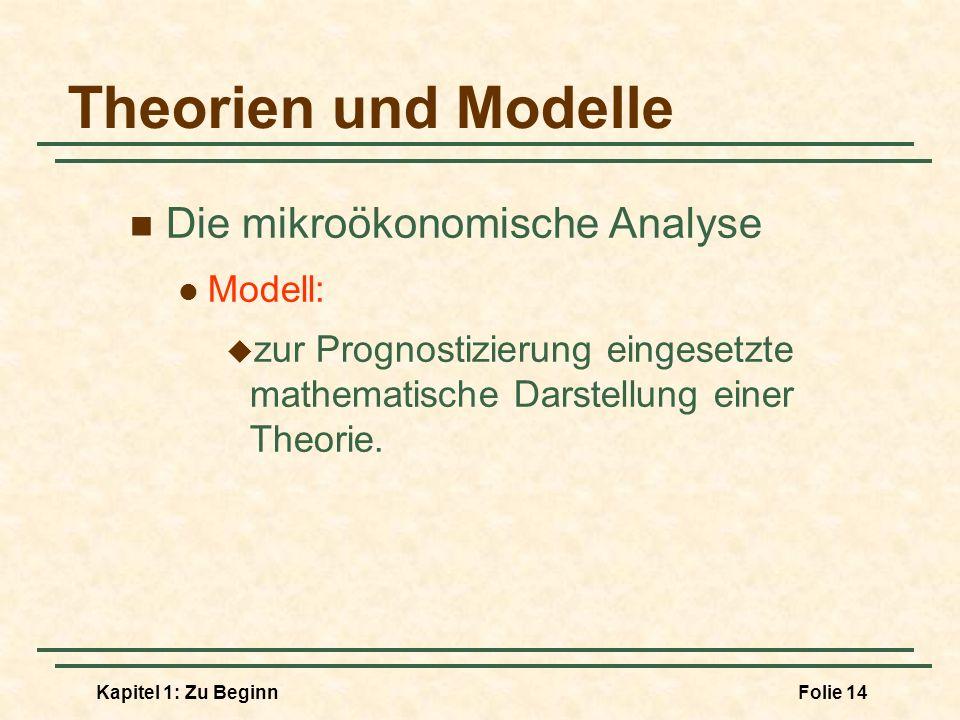 Kapitel 1: Zu BeginnFolie 14 Theorien und Modelle Die mikroökonomische Analyse Modell: zur Prognostizierung eingesetzte mathematische Darstellung eine