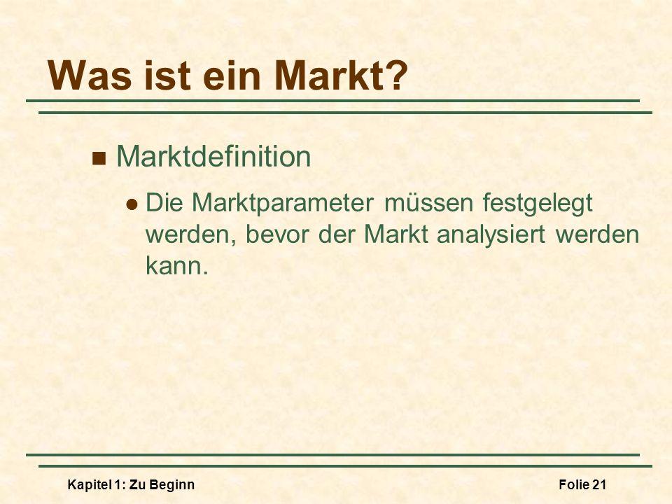 Kapitel 1: Zu BeginnFolie 21 Was ist ein Markt? Marktdefinition Die Marktparameter müssen festgelegt werden, bevor der Markt analysiert werden kann.