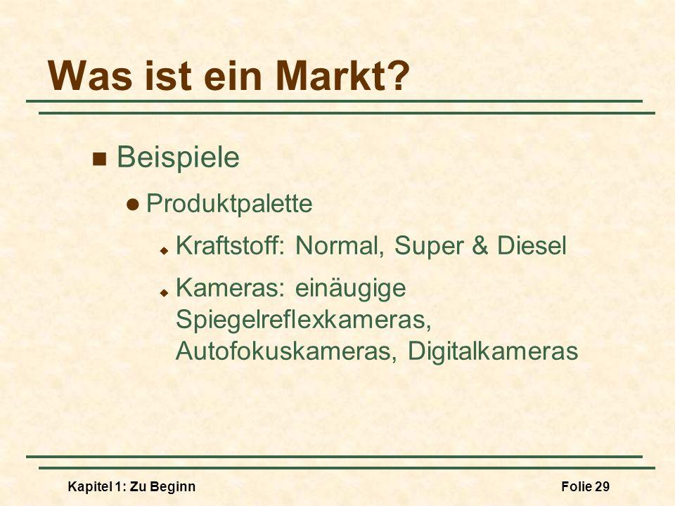 Kapitel 1: Zu BeginnFolie 29 Was ist ein Markt? Beispiele Produktpalette Kraftstoff: Normal, Super & Diesel Kameras: einäugige Spiegelreflexkameras, A
