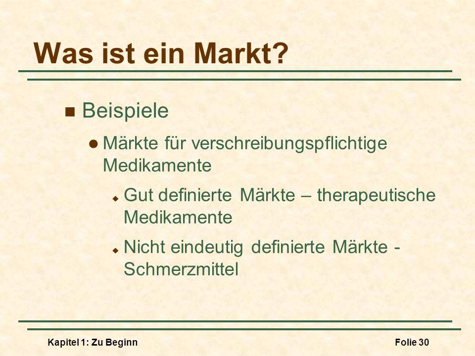 Kapitel 1: Zu BeginnFolie 30 Was ist ein Markt? Beispiele Märkte für verschreibungspflichtige Medikamente Gut definierte Märkte – therapeutische Medik
