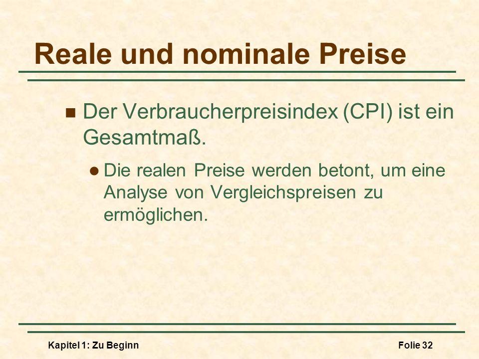 Kapitel 1: Zu BeginnFolie 32 Reale und nominale Preise Der Verbraucherpreisindex (CPI) ist ein Gesamtmaß. Die realen Preise werden betont, um eine Ana
