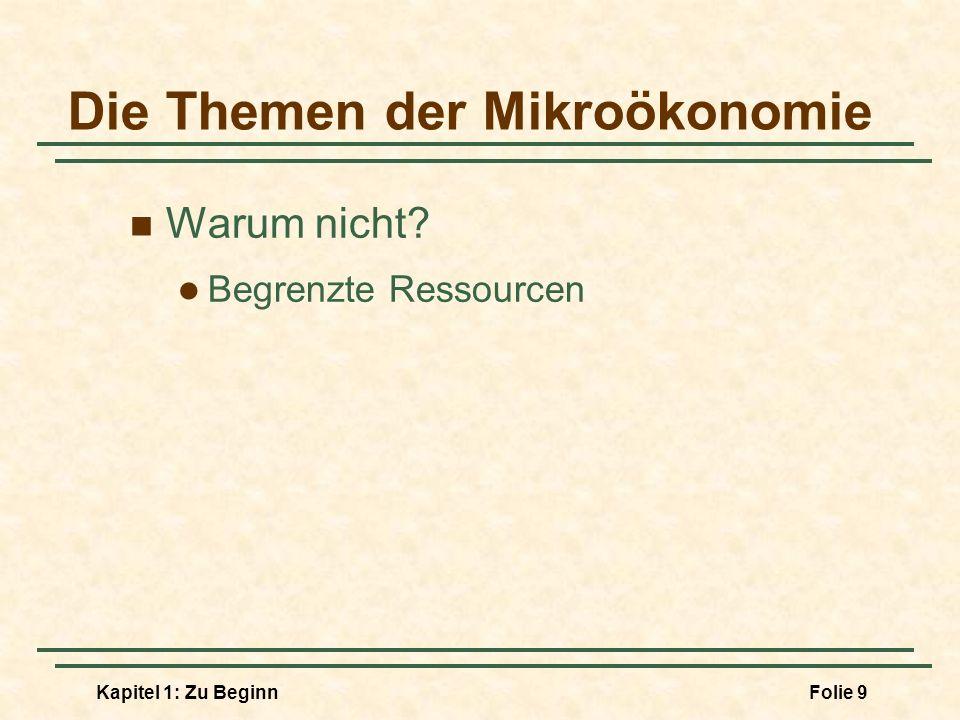 Kapitel 1: Zu BeginnFolie 10 Die Themen der Mikroökonomie Mikroökonomie Aufteilung knapper Ressourcen und Tradeoffs in einer Planwirtschaft in einer Marktwirtschaft