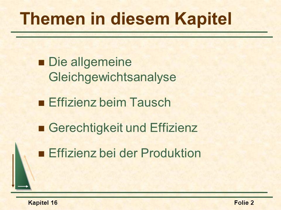 Kapitel 16Folie 63 Die Produktionsmöglichkeitsgrenze Lebensmittel (Einheiten) Bekleidung (Einheiten) O F & O C sind Extremfälle.