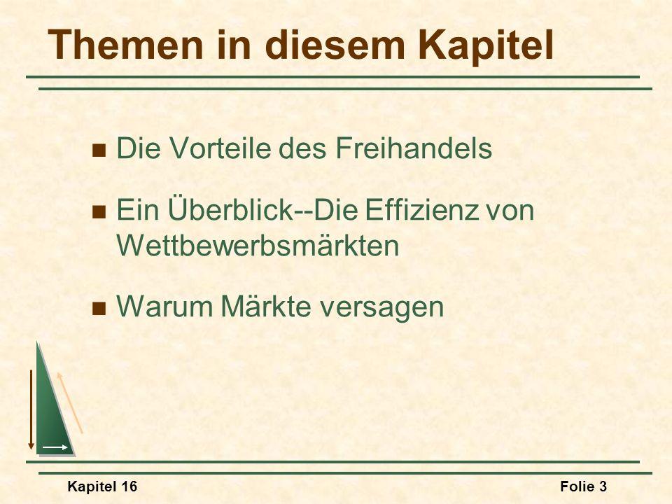 Kapitel 16Folie 34 Effizienz beim Tausch Die ökonomische Effizienz von Wettbewerbsmärkten Im Punkt C ist zu erkennen (wie auf der nächsten Folie dargestellt), dass die Allokation in einem Wettbewerbsgleichgewicht ökonomisch effizient ist.