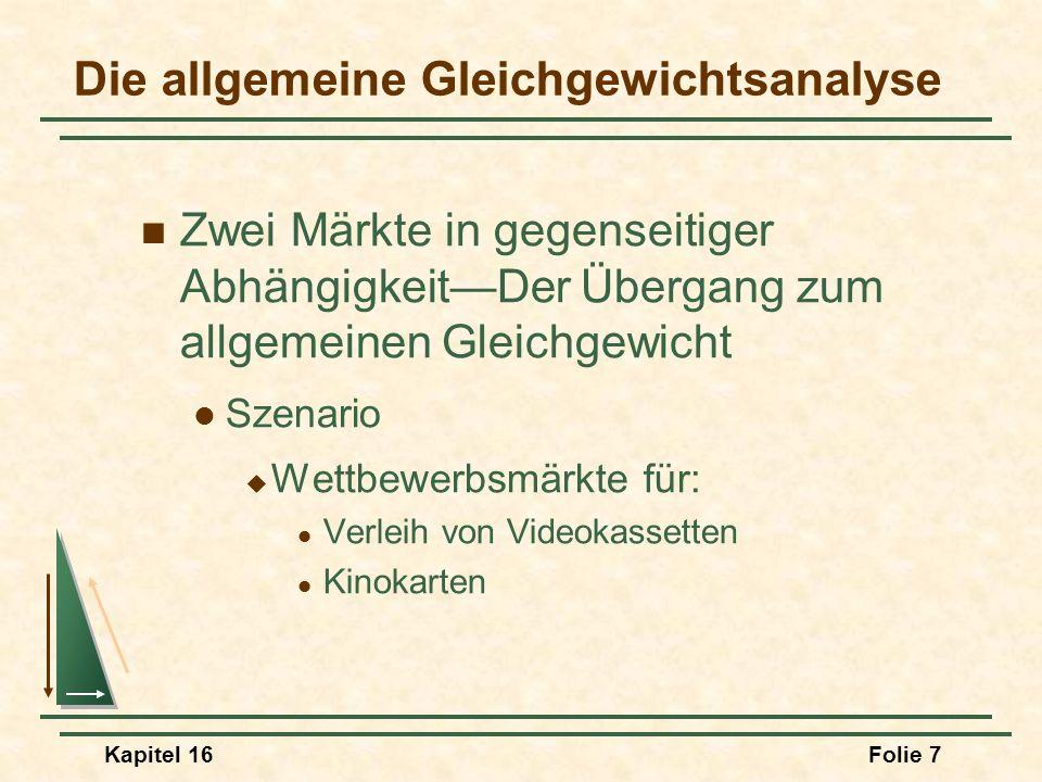 Kapitel 16Folie 18 Effizienz beim Tausch Das Edgeworth-Boxdiagramm Welcher Handel eintreten kann und welche Allokation effizient sein wird, kann mit Hilfe eines sogenannten Edgeworth-Boxdiagramms dargestellt werden.