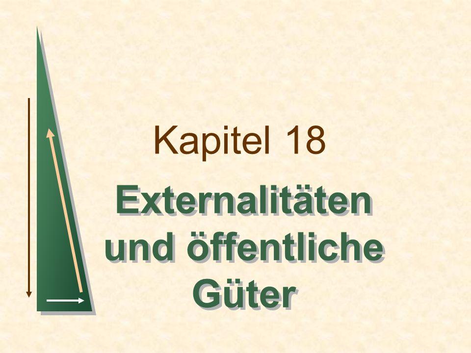 Kapitel 18Folie 2 Themen in diesem Kapitel Externalitäten Korrekturmöglichkeiten für Marktversagen Externalitäten und Eigentumsrechte Ressourcen im Gemeineigentum