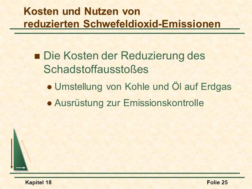 Kapitel 18Folie 26 Vorteile reduzierter Emissionen Verbesserung der Gesundheit Reduzierung von Korrosion Ästhetische Werte Kosten und Nutzen von reduzierten Schwefeldioxid-Emissionen