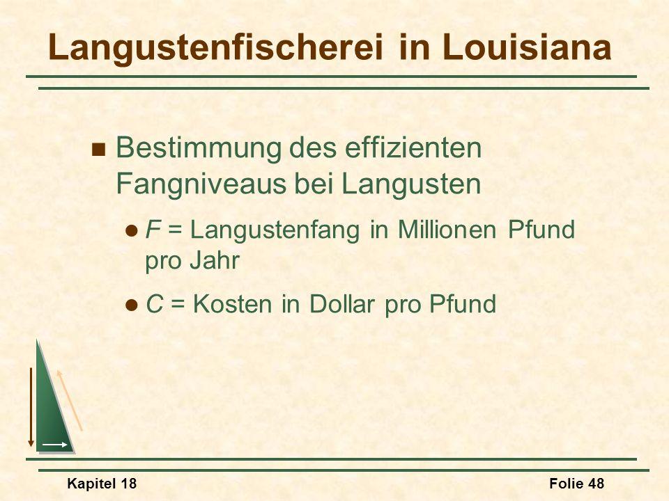 Kapitel 18Folie 49 Langustenfischerei in Louisiana Nachfrage C = 0,401 = 0,0064F Gesellschaftliche Grenzkosten C = -5,645 + 0,6509F Private Kosten C = -0,357 + 0,0573F