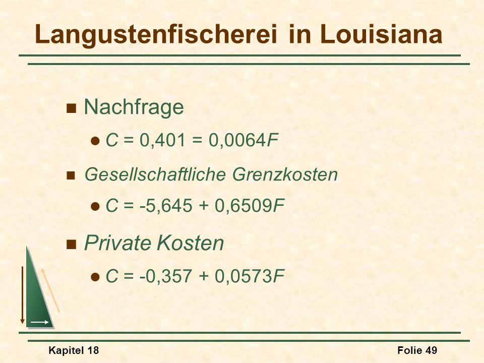 Kapitel 18Folie 50 Langustenfischerei in Louisiana Effiziente Fangmenge 9,2 Millionen Pfund D = MSC