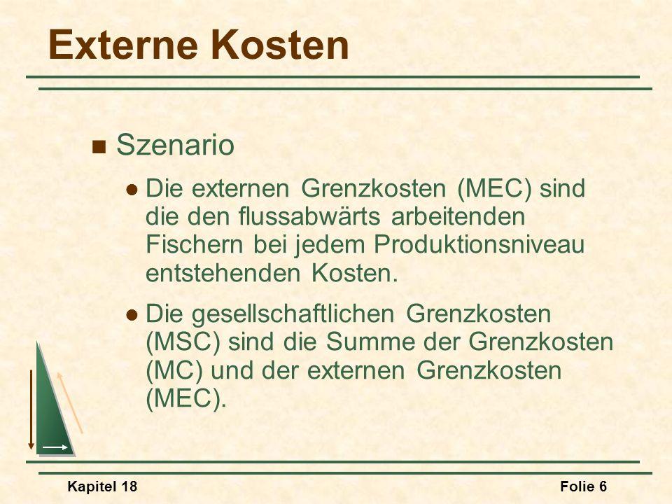 MC S = MC I D P1P1 Gesellschaftliche Gesamtkosten der negativen Externalität P1P1 q1q1 Q1Q1 MSC MSC I Bestehen negative Externalitäten, sind die gesellschaftlichen Grenzkosten (MSC) höher als die Grenzkosten.